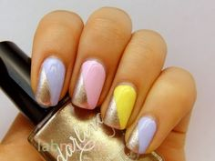 Polish or Perish: Spring pastel tape manicure with gold accents