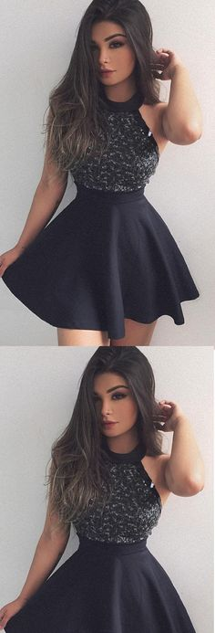 Prom Dresses 2017, Short Prom Dresses, Black Prom Dresses, 2017 Prom Dresses, Sexy Prom dresses, Black Sexy Prom Dresses, Black Short Prom Dresses, Prom Dresses Short, Short Homecoming Dresses, Homecoming Dresses 2017, Sexy Black Dresses, 2017 Homecoming Dress Sexy Black Halter Beading Short Prom Dress Party Dress
