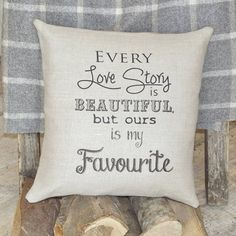 Our Love Story Linen & Burlap Pillow / Cushion