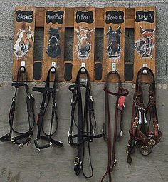 Super cute bridle rack. Love that they have like pictures of the horse as well as the name.