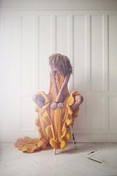 Melody Gardot by Robert Fischer Melody Gardot, Straight Hairstyles, Cool Hairstyles, Boho Fashion, Girl Fashion, Dress Shapes, Mellow Yellow, Mustard Yellow, Ruffle Dress