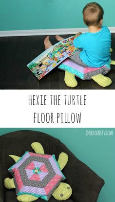 A big hexie turtle quilted floor pillow with book pocket. The perfect snuggle-y turtle softie, on Swoodsonsays.com