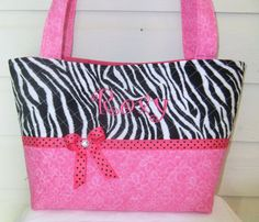 Quilted Zebra Print and Pink Flowers by MsSewItAll32 on Etsy, $40.00
