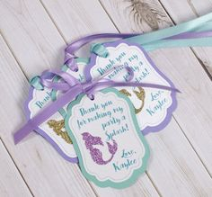 12 Mermaid Favor tags, PERSONALIZED, Under the sea Favor tags, Mermaid birthday decorations