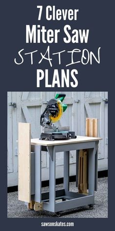 Here's a roundup of 7 DIY tutorials that show how to build a space-saving miter saw stand that would be perfect for a small workshop. Check out the plans for these 7 DIY miter saw stations! They're all great for a small workshop, garage, or shed. Miter Saw Stand Plans, Diy Miter Saw Stand, Miter Saw Table, Mitre Saw Stand, Woodworking Basics, Cool Woodworking Projects, Woodworking Shop, Woodworking Plans, Wood Projects