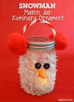 Snowman Mason Jar Luminary Ornament Craft Idea | Tween Craft Ideas for Mom and Daughter (would be cute idea for baby food jars also)