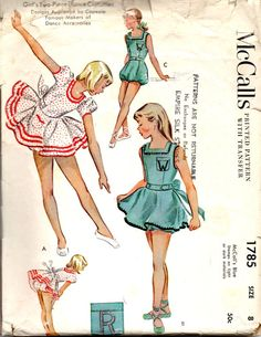 20774e886c25 McCalls 1785 1950s Girls DANCE COSTUME Pattern Dress Rompers Skirt and  Bloomers Capezio Approved Vintage Sewing Pattern Size 8 Breast 26