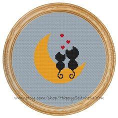 Cross Stitch Pattern PDF love cats moon DD0025