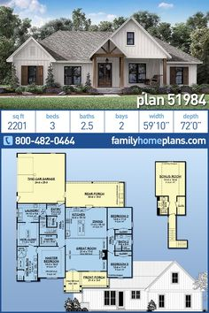 Country, Farmhouse, Southern House Plan 51984 with 3 Beds, 3 Baths, 2 Car Garage Southern House Plans, Family House Plans, Country House Plans, New House Plans, Dream House Plans, Country Farmhouse, Dream Houses, Country Homes, Country Style Houses