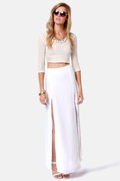 BB Dakota McKinley Skirt - Ivory Skirt - Maxi Skirt - $83.00