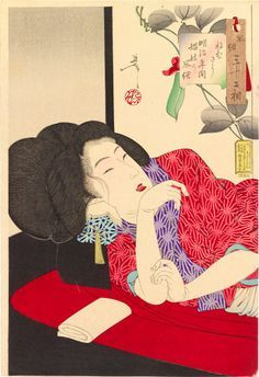 Tsukioka Yoshitoshi (1839-1892): Thirty-Two Aspects of Customs and Manners: Drowsy, the appearance of a harlot of the Meiji era, woodblock print, 1888.