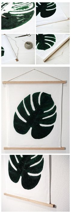 DIY Monstera Cotton Print for Wall Decoration || DIY Monstera-Print im Wandkarten-Look