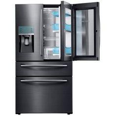 Samsung, 27.8 cu. ft. Food Showcase 4-Door French Door Refrigerator in Black Stainless Steel, RF28JBEDBSG at The Home Depot - Mobile