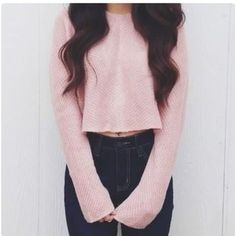 sweater cropped sweater style sweatshirt pink cute cute sweaters long sleeves long sleeve crop top cozy