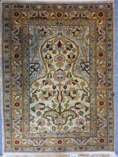 Silk Hereke rug 0.63m x 0.45m