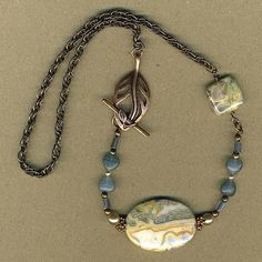 Blue Crazy Lace Agate Copper Necklace Leaf Toggle by ButterFlips, $29.75