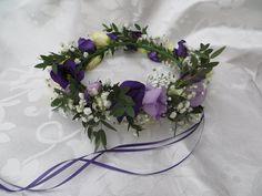 Flower girl hair circlet of purple and cream lisianthus, spray roses, gypsophila & eucalyptus
