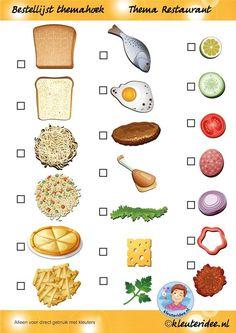 Bestellijst themahoek, ook de etenswaren van de lijst verschijnen nog op de site, thema restaurant, juf Petra van kleuteridee.nl, Restaurant role play, free printable