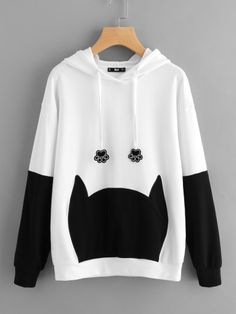 Dotfashion Bow Back Two Tone Cat Ear Cute Hoodie 2017 Female Color Block Embroidery Top Autumn Long Sleeve Sweatshirt Tumblr Outfits, Trendy Outfits, Fashion Outfits, Fashion Deals, Stylish Dresses, Fashion Clothes, Style Fashion, Kawaii Clothes, Hoodie Sweatshirts