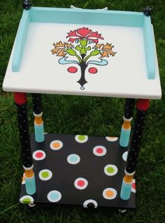 funky end table from the decorative paintbrush