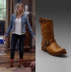60aa7fe5b22b Mackenzie Miller (Kaitlin Olson) wears these short light brown colored  ankle boots in this episode of The Mick