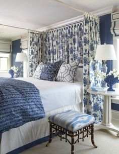 Cindy Rinfret Ocean House Hotel in Watch Hill, Rhode Island. Blue and white bedroom. Blue Rooms, Blue Bedroom, White Rooms, Master Bedroom, Bedroom Decor, Blue White Bedrooms, Bedroom Ideas, Trendy Bedroom, Ocean House
