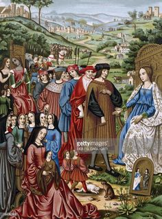 FRANCE - CIRCA 2003: King Louis XII of France before the Fortuna with Queen Anne of Brittany, her daughter Claude of France, lords and ladies of the court, print taken from a manuscript, 16th century. France. (Photo by DeAgostini/Getty Images)