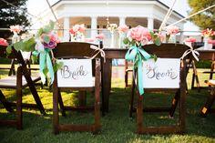 bride + groom chairs -- so cute!