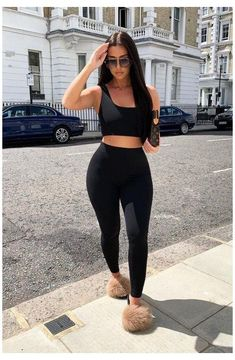 Black One Shoulder Crop Top and Leggings Co-Ord - Marrie #leggings #and #crop #top #outfits Black One Shoulder Crop Top and Leggings Co-Ord - Marrie Cute Casual Outfits, Stylish Outfits, Fashion Outfits, Work Outfits, Fashion Clothes, Black Crop Top Outfit, Outfit With Black Leggings, Off The Shoulder Top Outfit, Crop Top And Leggings