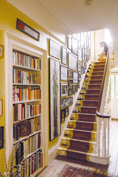 yellow finis staircase in period property