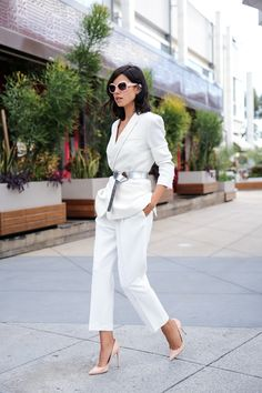 Belted white suit...