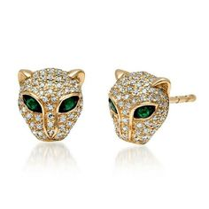 Ct Round Cut Emerald & Diamond Panther Stud Earrings Yellow Gold Over Diamond Flower, Sapphire Diamond, Diamond Studs, Emerald Earrings, Stud Earrings, Panther, White Gold, Yellow, Diamonds