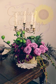 Vintage inspired floral, shades of purple and ornamental figs