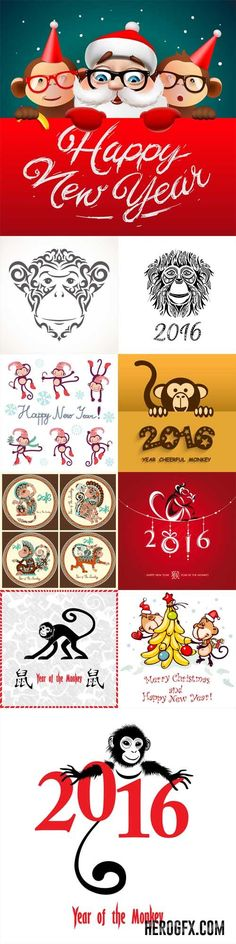 Vector Set - Happy New Year 2016 - Year Of The Monkey