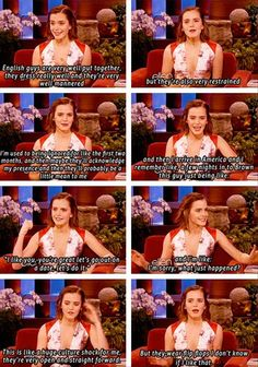 Emma Watson on Ellen, English vs. American guys :) LOL