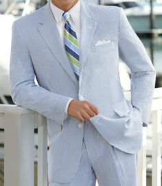 Seersucker Summer Suit, personally i think searsucker suit jacket with white pants or the pants with a different blazer but love searsucker Gentleman Mode, Gentleman Style, Sharp Dressed Man, Well Dressed Men, Bleu Pastel, My Bebe, Look Man, La Mode Masculine, Stripes