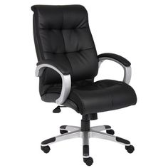 Boss Office Products Black Contemporary Ergonomic Adjustable Height Swivel Executive Chair at Lowe's. Take comfort to the next level with this double plush high back executive chair. Beautifully upholstered in black LeatherPlus, a soft and durable Executive Office Chairs, Office Seating, High Back Chairs, Chair Upholstery, Upholstering Chairs, Bonded Leather, Black Leather, Swivel Chair, Office Furniture