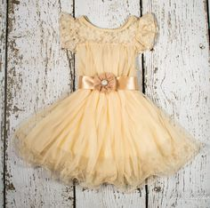Beautiful ivory, lace, chiffon, tulle flower girl dress via etsy. Perfect for beach weddings, country weddings, weddings, baptism and birthdays!
