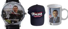 "President Obama ""Commemorative Watch""  + Coffee Mug and Cap / Gift Set"