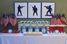 Military party: this is awesome! The silhouette army figures would be great for decor in a boys room after the party is over. #recycle #upcycle