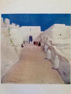 ~ Tangier Morocco, road to the kasbah, architecture art print ~ Morocco, North African ~ Rare 1904 antique engraving ~ First edition book
