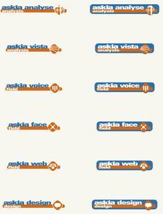 Etude et réalisation d'un jeu de logotypes d'une suite logicielle pour askia, éditeur informatique. #pictus #logo #logotype #creationlogo #askia