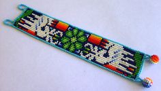 Mexican Huichol Beaded peyote and deer bracelet by Aramara on Etsy, $18.50