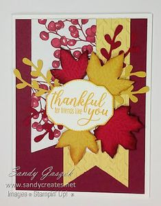 This cards is an alternative that I made using pieces and the sentiment stamp from the August Paper Pumpkin, The Gift of Fall, from Stampin' Up!, supplemented with other items from my stash. Pumpkin Cards, Paper Pumpkin, Autumn Cards, Pumpkin Ideas, Thanksgiving Cards, Leaf Shapes, Fall Pumpkins, Board Ideas, Fall Halloween