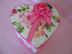 BOX KEEPSAKE HEART Large Embellished Pink Roses by fragilegarden, $28.00