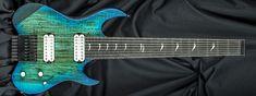 Carvin Guitars v8, spalted maple (SM), translucent aquaburst (TQB), satin matte finish (CS), black burst back & sides (BBB), walnut body (WAL), 5 piece walnut/koa neck (5WK), mother roof pearl signature inlays (MPS), stainless steel jumbo frets (STJF), pearl knobs (PK), black logo (BL), white pickups (404), Dunlop (SL)
