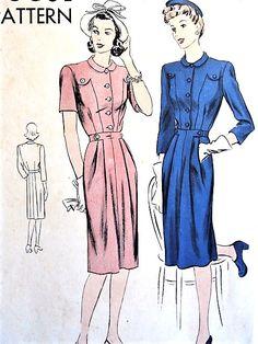 1940s CUTE Dress Pattern VOGUE 9576 Easy Elegance Daytime or After 5 Bust 34 Vintage Sewing Pattern