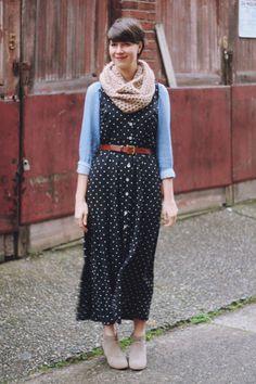 Sleeveless polka dot maxi dress over chambray top, brown belt, tan scarf and booties