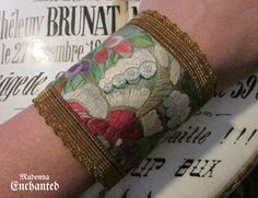 Madonna Enchanted bohemian leather cuff antique silk textile blind stitch butterfly floral one of a kind bracelet by madonnaenchanted on Etsy