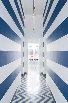 blue and white corridor